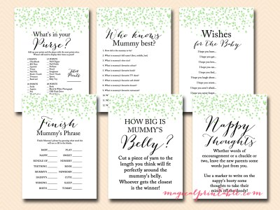 green confetti baby shower game set, tlc53, mummy to be, nappy, aussie english spelling