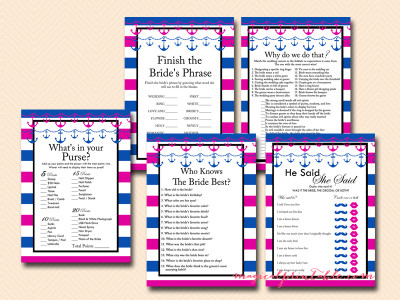 hot pink and navy blue nautical bridal shower game package, instant download, bs91, beach bridal shower games