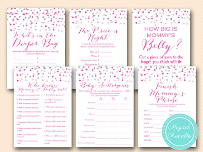 silver and pink girl baby shower game printable, pink confetti, baby girl tlc179