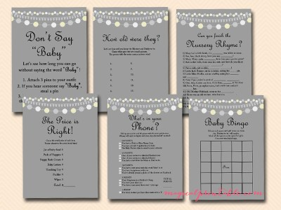 string of lights, baby shower game set, aussie english spelling, mummy, nappy