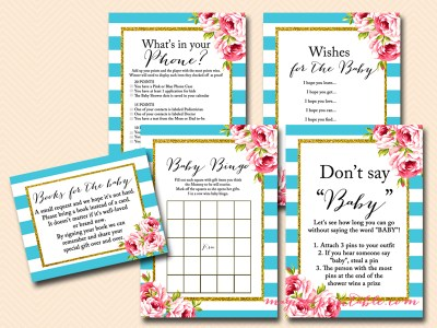 turquoise baby shower game package, florals, stripes, turquoise stripes, floral, chic baby shower games, instant download, tlc84