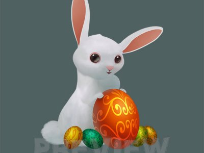 Easter Egg with a girl Clipart, Girl with Easter Eggs rabbit