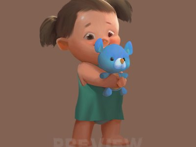 Girl with a teddy bear toy Clipart, Baby with a soft toy Clipart, Character girl clipart