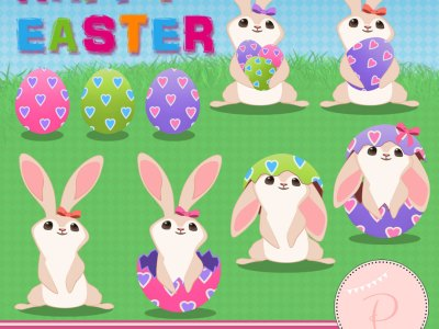 Rabbit Clipart, Easter Clipart, Girl Clipart pink bunnies