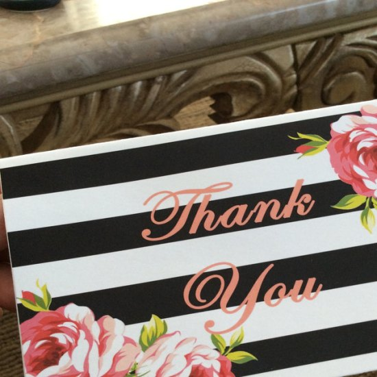 black and floral thank you cards