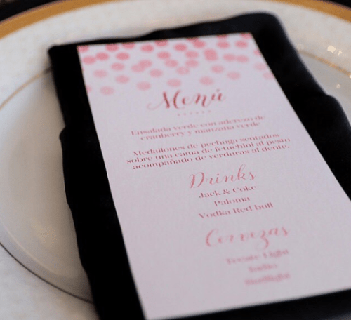 rose gold wedding menu printable