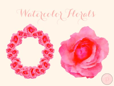 1-watercolor-flower pink cliparts