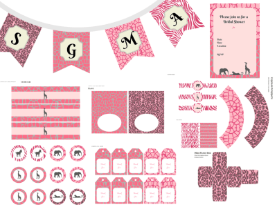Pink Safari Baby Shower, Safari Baby Shower, Pink Safari Birthday, Jungle Birthday, Party Package, Pink Leopard, Pink Giraffe , Pink Party