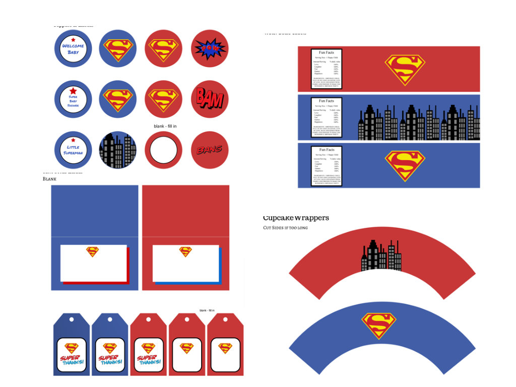 superman baby shower pack magical printable