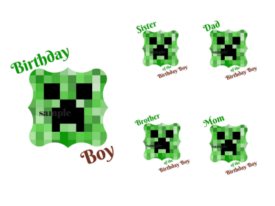 FAMILY Minecraft Creeper Iron Ons