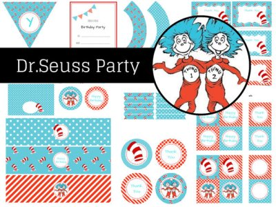 Dr Seuss Birthday, Dr Seuss Party, Party Printables, Thing 1 Thing 2,  Dr Seuss Party Pack, Birthday Party, Instant Download, Twin Birthday