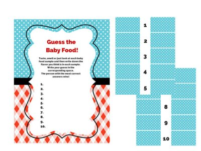 Baby Shower Games, Boy Baby Shower Games, Fun Baby Shower Games, Baby Food Games, Name that baby food with labels, thing 1 thing 2