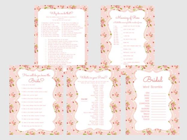 pink shabby floral bridal shower game pack