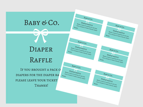 tiffany blue baby shower diaper raffle ticket cards and sign baby co