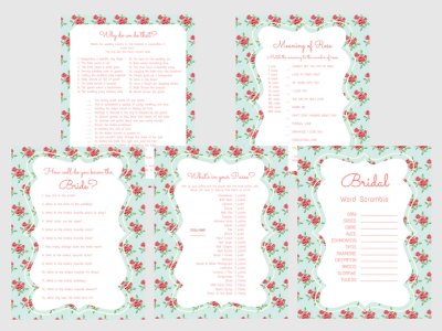 Blue Floral Bridal Shower Games set