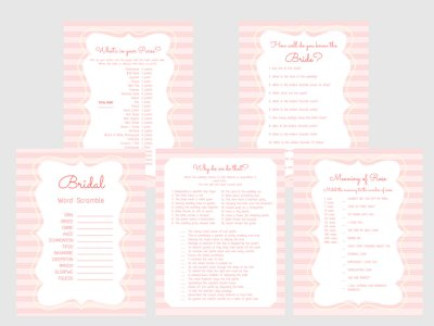 Bridal Shower Games, Printable Bridal Shower Games, Bridal Shower Game Prizes, Unique Bridal Shower Games, Fun Bridal Shower Games, pink