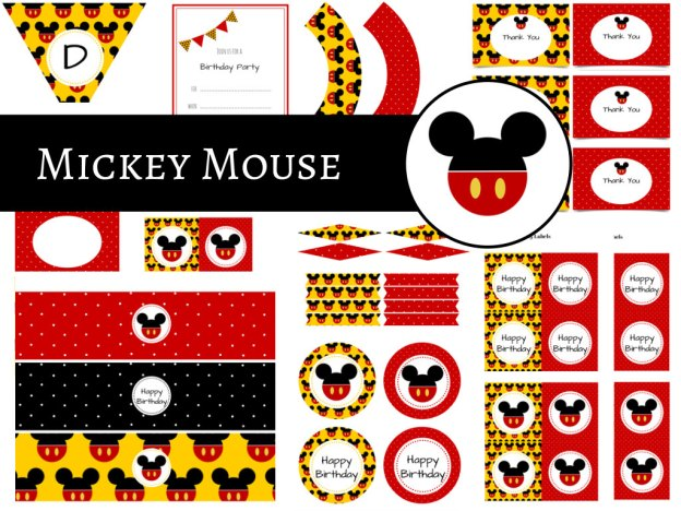 Mickey Mouse Party Package, Mickey Mouse Birthday Party, Instant Download Mickey Mouse Printable Party Pack, Red Dots, Minnie Mouse Party