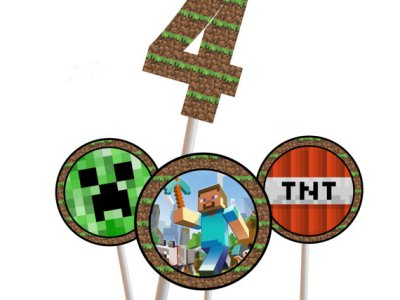 Minecraft Centerpiece, Minecraft Cupcake topper, Minecraft Party, Minecraft Cake Toppers, Minecraft Party, Minecraft Birthday, Labels, Tags