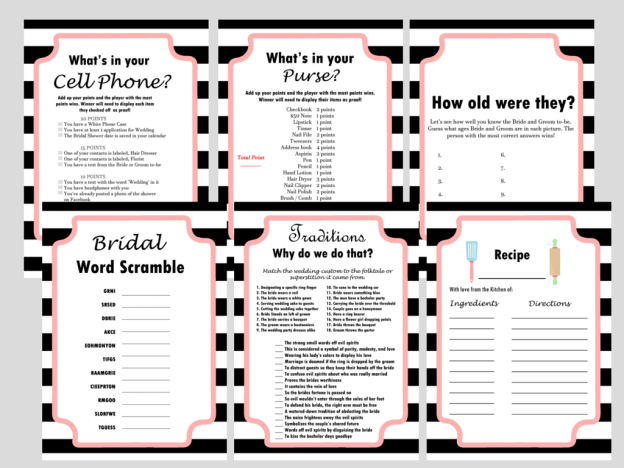 Modern Black & White Stripes Bridal Shower Games Activity, Modern Bridal Shower, Bridal Shower Game Prize, Unique Bridal Shower Games, bw02