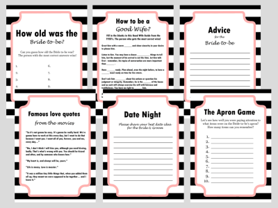Modern Black & White Stripes Bridal Shower Games Activity, Modern Bridal Shower, Bridal Shower Game Prize, Unique Bridal Shower Games