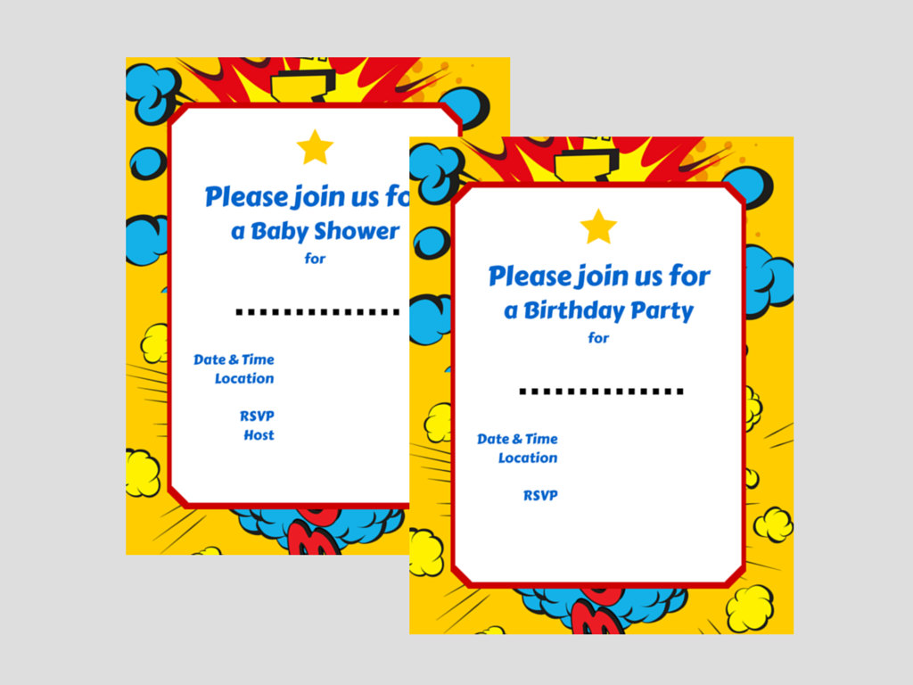 Superhero Invitations - Magical Printable