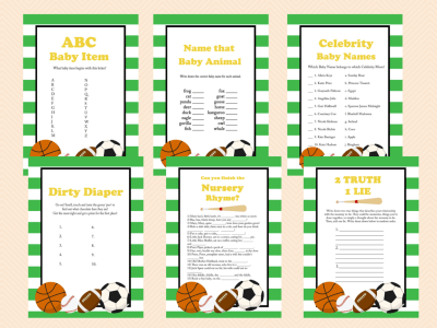 All Stars Baby Shower Game Printables, All Stars, baseball, Sports Baby Shower Games and Activities, Instant Download, TLC06