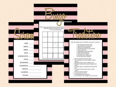 Phone Hunt, What's in your phone, Scramble, Tradition, Bingo Modern stripes, Gold Glitter Bridal Shower Games, Wedding Shower Game