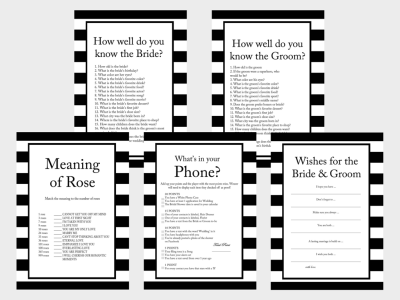 chanel inspired bridal shower games, Black and White Stripes Bridal Shower Games and Activities, Printable Download, Modern Bridal, Bachelorette Games, Wedding Shower Games
