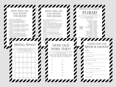Modern Black and White Stripes Bridal Shower Games Package Set, Unique Bridal Shower Games, White background game, Wedding Shower Games BS08