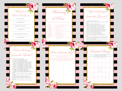 Pink Parisian Chic, Pink Black Stripe Chic Bridal Shower Games Package Set, Unique Games, Bachelorette Games, Wedding Shower Games BS12
