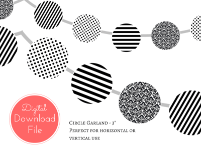 circle garland, download banner, Modern Black and White Banner, Black White Polka Dots, Black White Stripes, Garland, Baby Shower Banner, Bridal Shower, Wedding banner