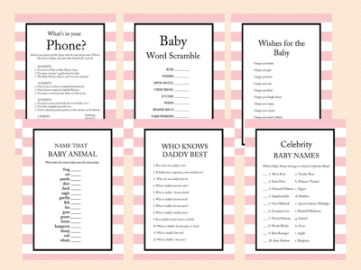 pink stripes parisian baby shower games magical printable