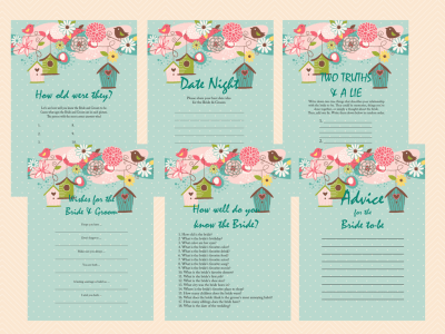 Bird Bridal Shower Games, Love Birds, Teal Bachelorette, Wedding Shower Games BS36