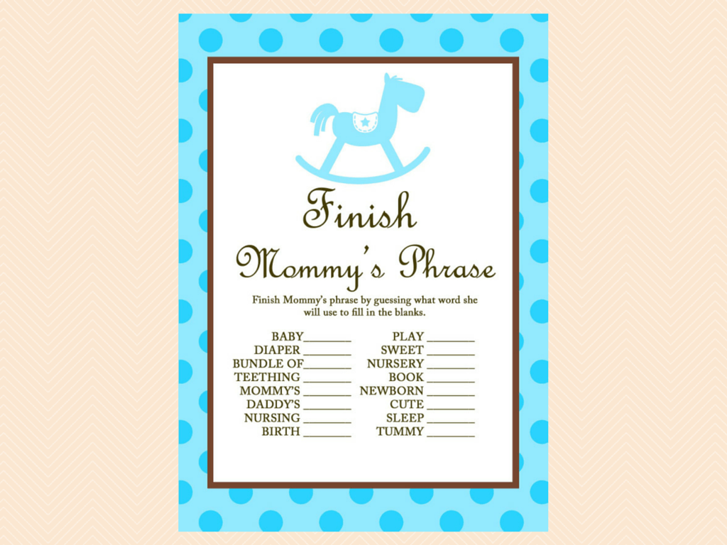 Blue Rocking Horse Baby Shower Games - Magical Printable