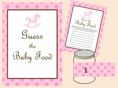 Pink Baby Shower Game Package, Baby Girl, Rocking Horse Baby Shower Games Printables, Baby Shower TLC25