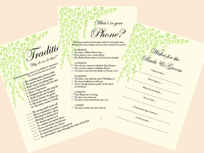 tradition, why do we do that, what's in ypur phone, Wishes for the bride and groom, Wishes for the couple Bridal Shower card, green willow tree Bridal Shower, Bachelorette, Wedding Shower BS35