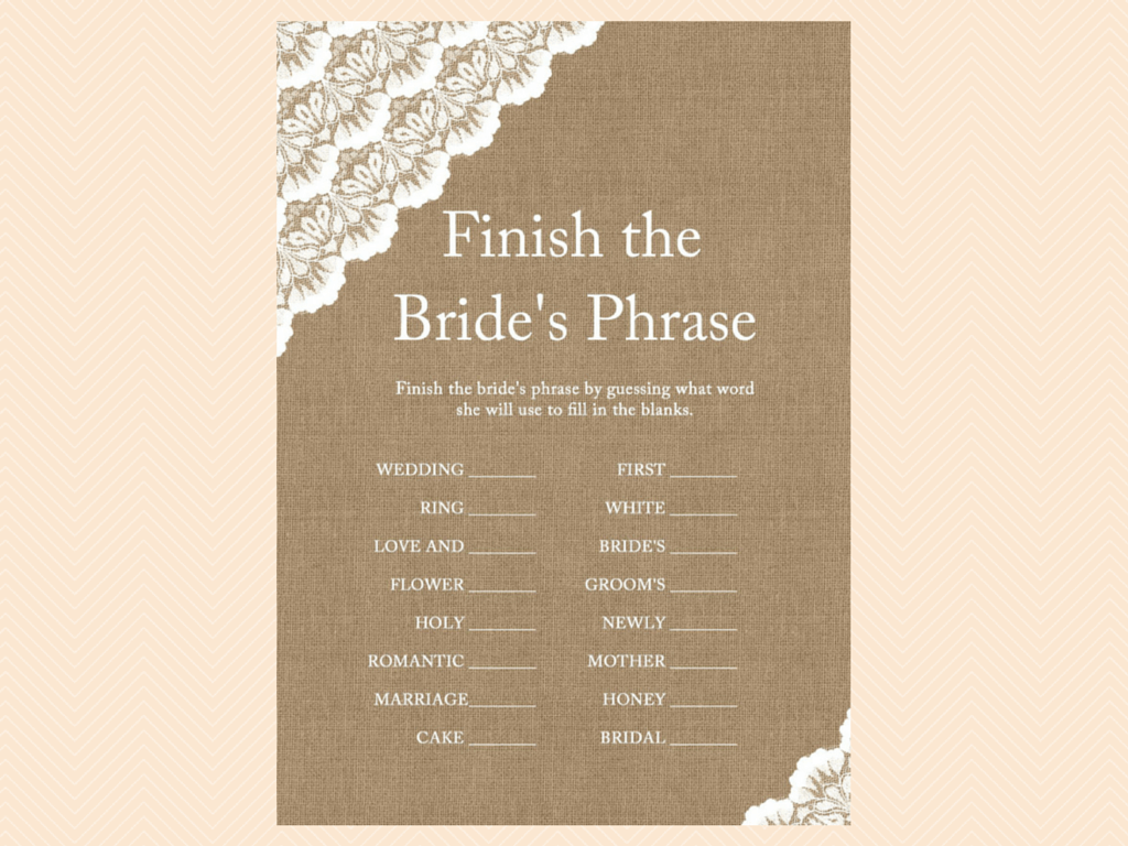 Burlap And Lace Bridal Shower Games Printables Magical
