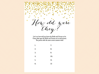 HOW OLD WERE THEY Gold Confetti Bridal Shower Game Set, Modern Bridal Shower Game Printable, Bachelorette Games, Wedding Shower Games, Metallic Gold Game BS46