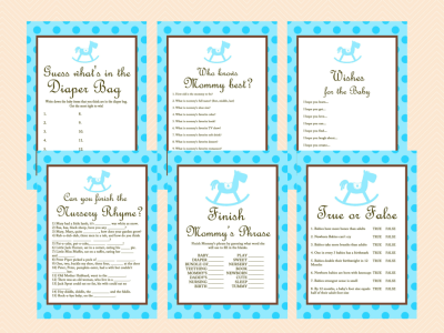 Blue, Baby Shower Games for Boy, Rocking Horse Baby Shower Games Printables, Baby Shower Game Pack TLC26