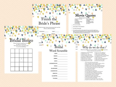 Coral and Mint Bridal Shower Games, Modern Bridal, Geometric Confetti Bridal Shower Game Printables, Bachelorette Games, Wedding Shower BS58