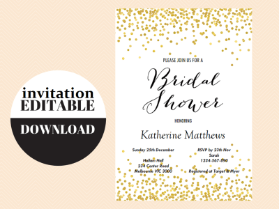 EDITABLE-invitations, Gold Confetti Bridal Shower Game Set, Modern Bridal Shower Game Printable, Bachelorette Games, Wedding Shower Games, Metallic Gold Game BS46