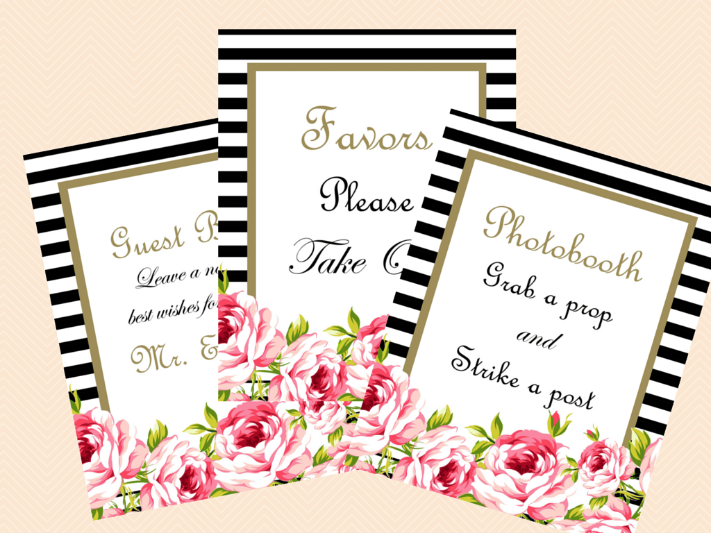 Floral Chic Printable Wedding Signs, Bridal Signs - Magical Printable