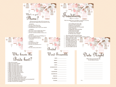 Pink Bridal Shower Game Printables Pack, Bachelorette Games, Birdcage, Bird, Outdoor, Rustic Wedding Shower Games BS42
