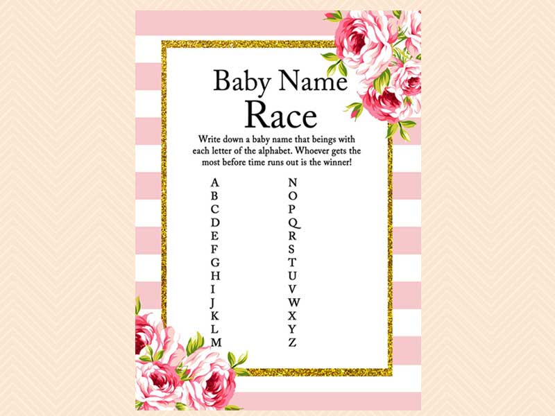 pink floral chic baby shower game pack