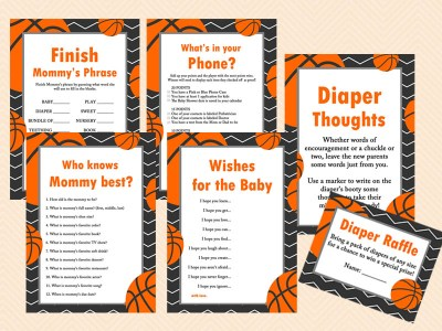 basketball baby shower game pack, sports baby shower game printables, instant download bs55
