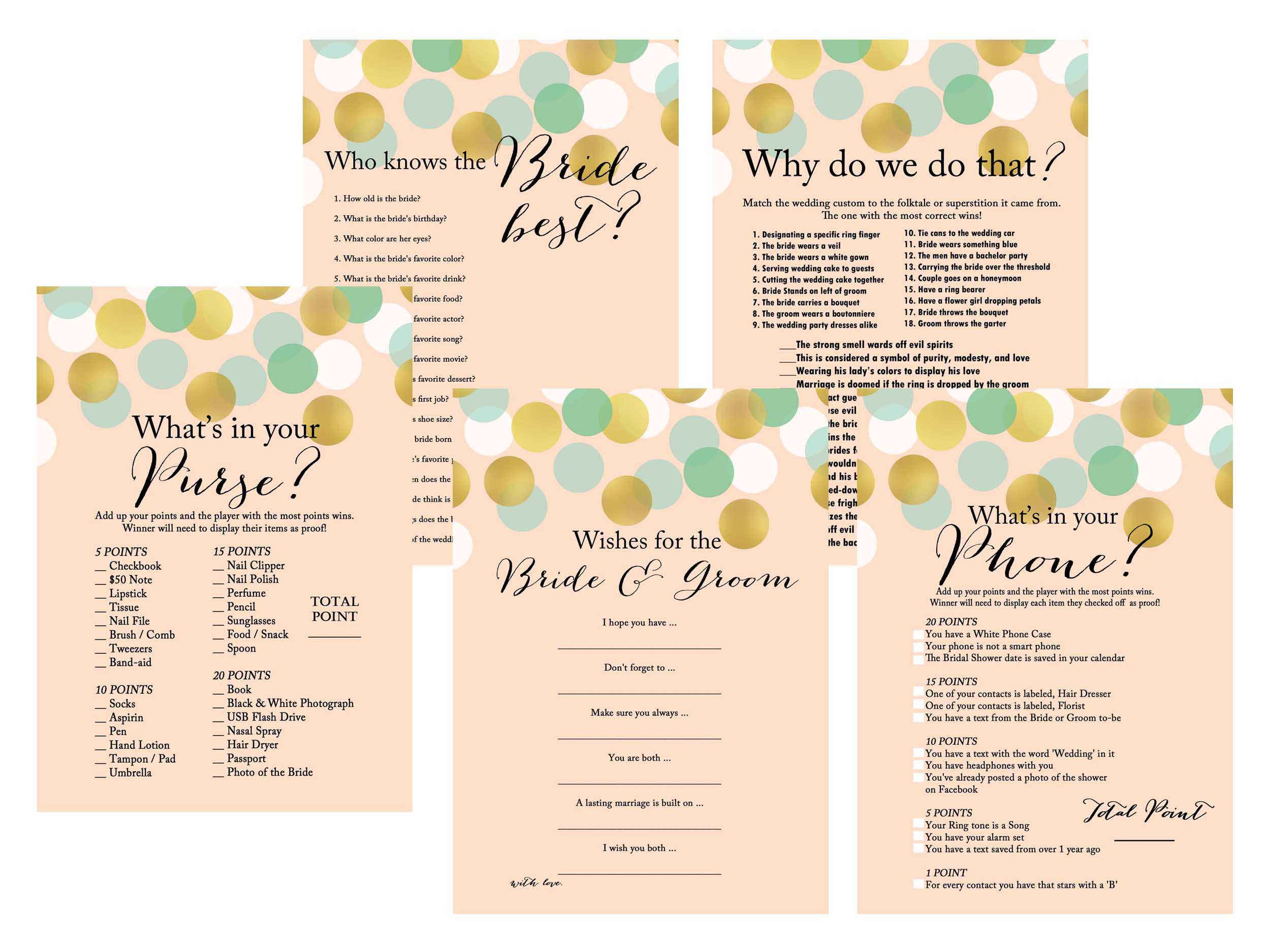 Mint Gold Confetti Bridal Shower Games Magical Printable