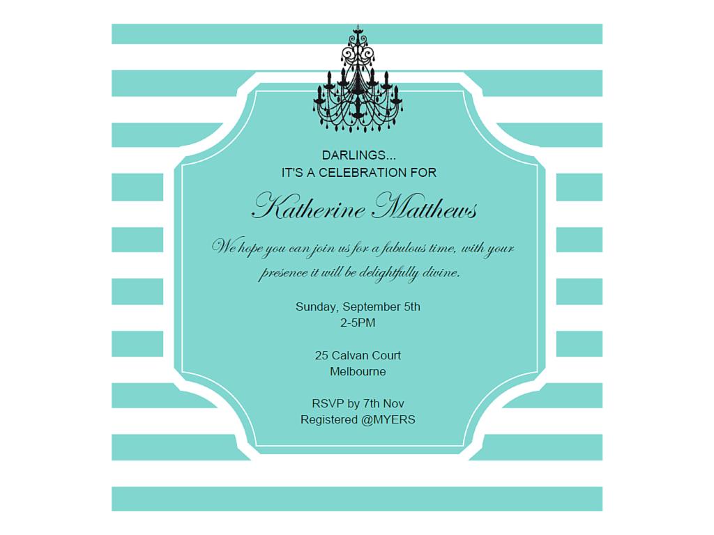 Editable tiffany invitations magical printable for Breakfast at tiffany s menu