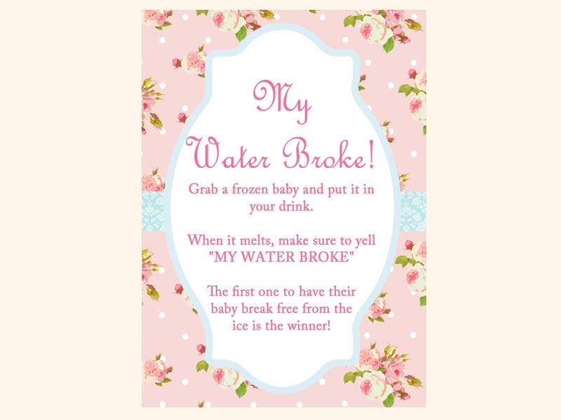 my water broke shabby chic floral pink baby shower games pack
