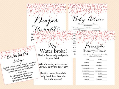 red peach confetti baby shower games, game printables, instant download games, modern design confetti, chic style baby shower