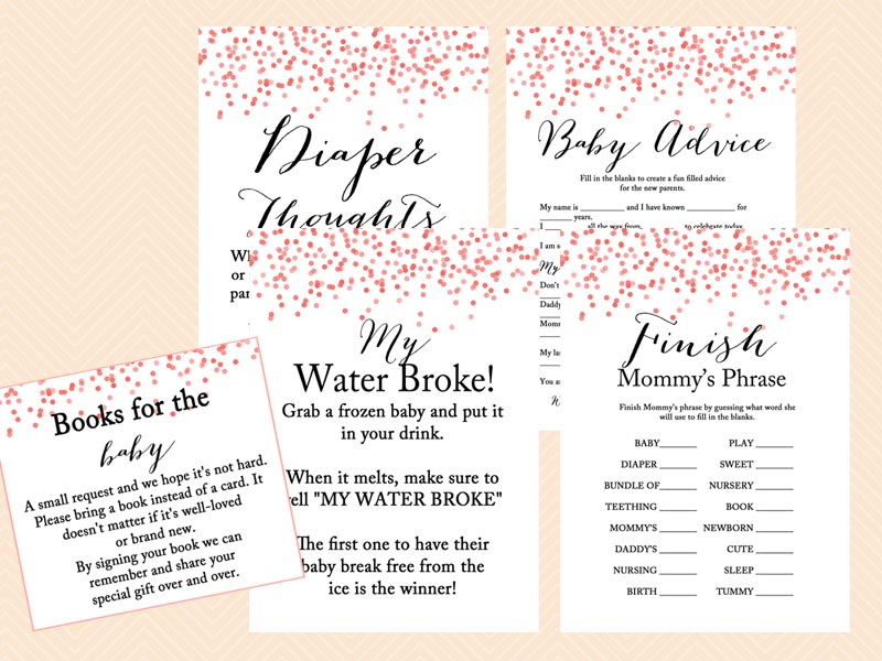 ... Red Peach Confetti Baby Shower Games, Game Printables, Instant Download  Games, Modern Design ...